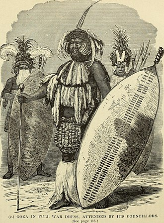 Shield - Powerful Zulu chief Goza and two of his councillors in war-dress, all with Nguni shields, c.1870. The size of the shield on the chief's left arm denotes his status, and the white colour that he is a married man.
