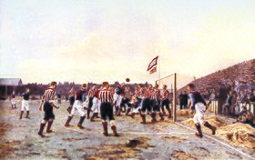 Painting of a football match