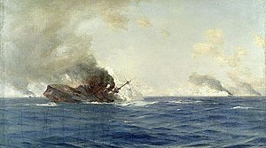 Thomas Jacques Somerscales, Sinking of 'The Scharnhorst' at the Battle of the Falkland Islands, 8 December 1914.jpg