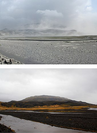 Upper: Ash covered the valley in early June 2010, immediately after the eruption. Lower: The same area, in September 2011 Thorsmork valley ash 2010 and 2011.JPG