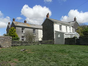 """Thuborough - Thuborough, south fronts, of """"Thuborough Barton"""" (left) and of """"Thuborough House"""" (right)"""