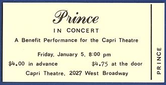 Prince (musician) - Ticket to Prince's first performance with his band in January 1979