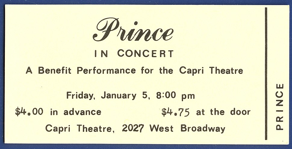 Ticket to Prince%E2%80%99s First Concert