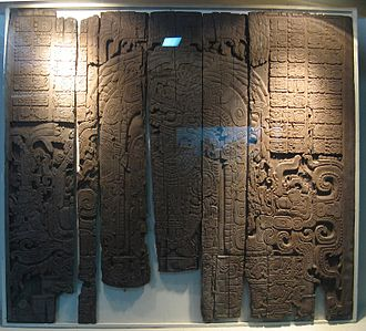 Tikal Temple IV - Lintel 3, celebrating a victory in 743