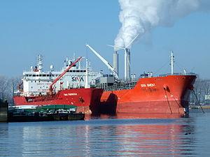 Tina Theresa - IMO 9478298 - Callsign OWEU2 & Siva Ghent - IMO 9565649 at Port of Amsterdam.JPG