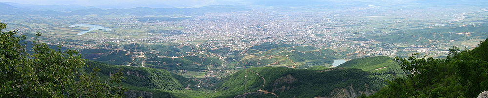 Panoramic view of Tirana as seen from Dajti Mountain.