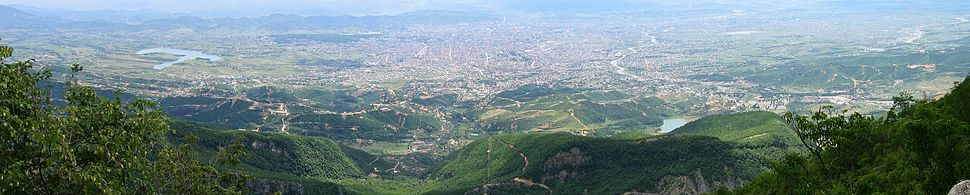 Panoramic view of Tirana, Albania from Mount Dajt in 2004.