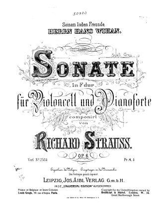 Cello Sonata (Strauss) - Title page from the original sheetmusic