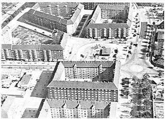 Toftegårds Plads - Aerial of Toftegårds Plads viewed from the west in c. 19351943