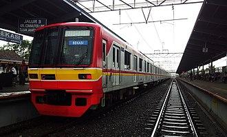 Bekasi - Former Tokyo Metro 05 series EMU set 112 stabled at Bekasi Station in Indonesia