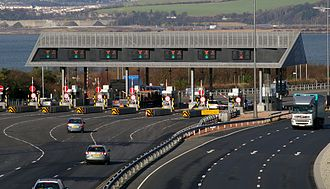 Toll road - A toll collection area  in the United Kingdom
