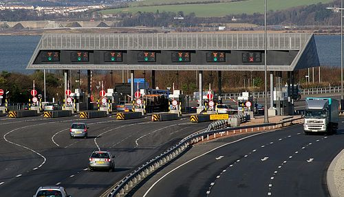A toll plaza in the United Kingdom