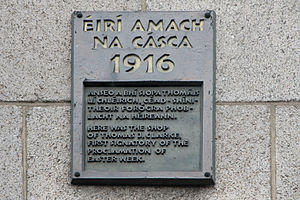 Tom Clarke (Irish republican) - Tom Clarke 1916 commemorative plaque at the junction of Parnell Street and O'Connell Street, Dublin