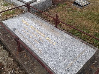 "The MCC erected a monument over Wills' unmarked gravesite on the centenary of his death. The epitaph reads: ""Founder of Australian football and champion cricketer of his time"". Tom Wills' Grave.jpg"