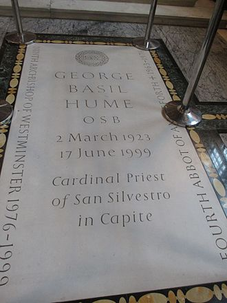 Basil Hume - Cardinal Hume's tomb in Westminster Cathedral.
