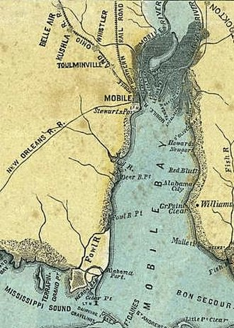Toulminville, Alabama - Toulminville, Alabama (upper left), during the American Civil War