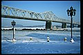 Towboat Jean Akin at George Rogers Clark Memorial Bridge Louisville Kentucky USA Ohio River mile 604 January 1994 file 94a027.jpg