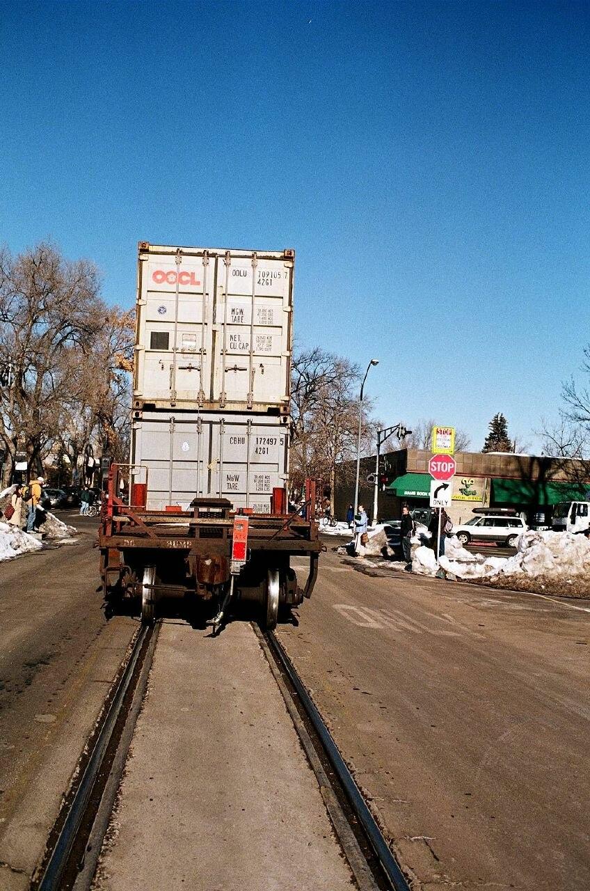 Train on S Mason St at W Laurel St, Ft Collins