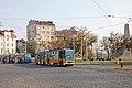 Tram in Sofia near Russian monument 069.jpg