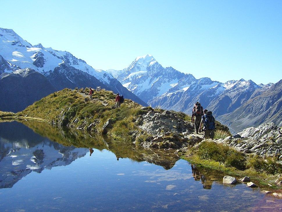 Tramping or hiking in Aoraki Mount Cook National Park.