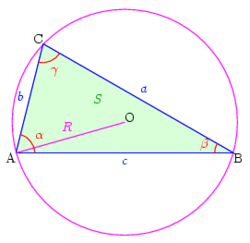 Triangle and circumcircle with notations.png