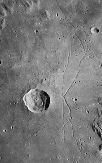 Triesnecker (crater) - Lunar Orbiter 4 image of Triesnecker crater and the Rille systerm
