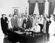 Truman signing National Security Act Amendment of 1949