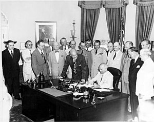 National Security Act of 1947 - Image: Truman signing National Security Act Amendment of 1949