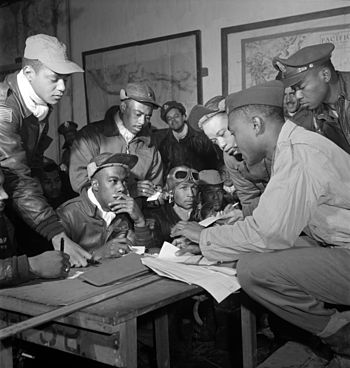 Several Tuskegee airmen at Ramitelli, Italy, M...