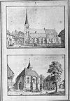 twee kerken naar tekening van j.de beyer (1743) op één negatief; boven de dorpskerk te steenderen en onder de n.h. kerk te bronkhorst - steenderen - 20044018 - rce