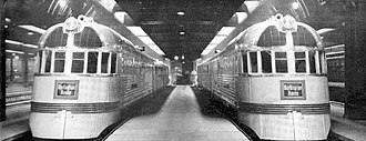 Twin Cities Zephyr - Two Twin Cities Zephyr trains on display in Chicago in 1935 just before entering regular service