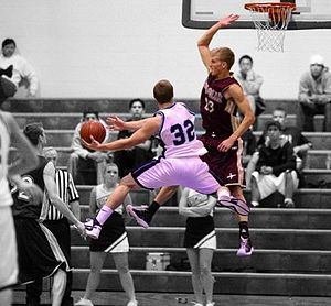 Tyler Haws - Haws defending a shot attempt while playing for Lone Peak High School
