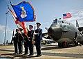 U.S. Airmen present flags in front of an MC-130E Combat Talon I aircraft during its retirement ceremony at Duke Field, Fla., April 25, 2013 130425-F-OC707-003.jpg