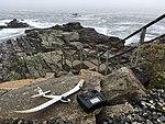 UMX Radian glider and Spektrum DX6 radio on a rock at Bald Head Cliff IMG 2814 FRD.jpg