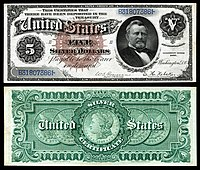 $5 Silver Certificate, Series 1886, Fr.264, depicting Ulysses Grant