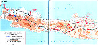Battle of Java (1942) - Map depicting Allied defensive lines (in blue) and the movement of Japanese forces (red) in Java, 1–8 March 1942.