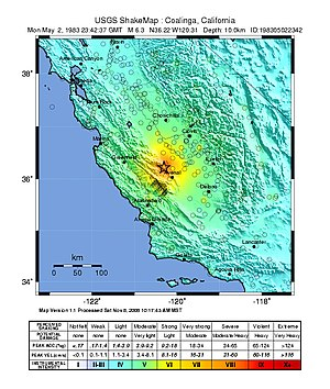 1983 Coalinga earthquake - Image: USGS Shakemap 1983 Coalinga earthquake (mainshock)