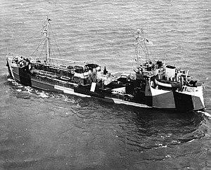 USS Escatawpa (AOG-27) underway in Hampton Roads, Virginia (USA), on 3 October 1944 (NH 99534).jpg