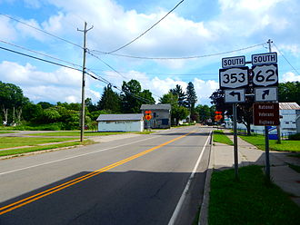 U.S. Route 62 in New York - US 62 south at NY 353 in Dayton