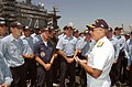 US Navy 040505-N-6213R-098 Adm. Vern Clark, Chief of Naval Operations (CNO), speaks with Sailors aboard USS John C. Stennis (CVN 74).jpg