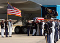 US Navy 040609-N-9712C-004 Ceremonial Honor Guardsmen place former President Ronald Reagan's flag-draped casket aboard a VC-25 Special Airlift Mission (SAM) 2800 Boeing 747 aircraft.jpg