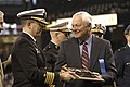 US Navy 050405-N-6477M-111 Capt. Robert D. Schlesinger represents the Navy Region Northwest as he receives a plaque of appreciation from President and Chief Operating Officer of the Seattle Mariners Baseball Team.jpg