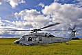US Navy 051118-N-8134A-001 A MH-60S Seahawk helicopter prepares to take off from a field near its base of Anderson Air Force Base on the island of Guam.jpg
