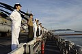 US Navy 070704-N-6274T-027 Sailors and Marines man the rails aboard amphibious assault ship USS Essex (LHD 2) during a scheduled port visit after the completion of Exercise Talisman Saber 2007.jpg