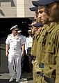 US Navy 080621-N-8273J-235 Sailors of the Israeli Navy stand at attention as Chief of Naval Operations (CNO), Adm. Gary Roughead prepares to debark the Eilat-class corvette INS Lahav (SAAR 502).jpg