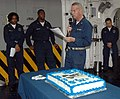 US Navy 090117-N-6410J-015 Amphibious assault ship USS Boxer (LHD 4) Chaplain, Lt. Cmdr. Phil Creider gives remarks during a cake-cutting ceremony in honor of Dr. Martin Luther King Jr.jpg