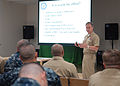 US Navy 100810-N-2218S-019 Capt. John Jones, chief warrant officer (CWO) and limited duty officer (LDO) community manager, briefs prospective CWOs and LDOs in the Community Readiness Center at Commander Fleet Activities Yokosuk.jpg