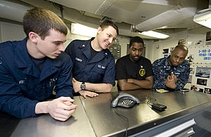 US Navy 111219-N-VO377-014 Sailors talk to New Orleans Saints tight-end Jimmy Graham during a holiday morale phone call aboard the Nimitz-Class air.jpg