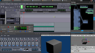 Ubuntu Studio - Screen shot of Ubuntu Studio 9.10 running JACK Audio Connection Kit – Qt GUI Interface 0.3.4, Ardour 2.8.2, Patchage 0.2.3, Hydrogen 0.9.3 and Blender.