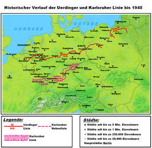Uerdingen line - The Uerdingen and the Karlsruhe line. The Karlsruhe line divides the Upper German dialects and the High Franconian dialects.